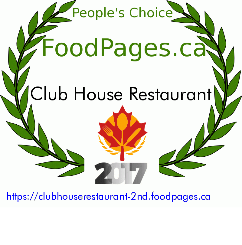 Club House Restaurant FoodPages.ca 2017 Award Winner